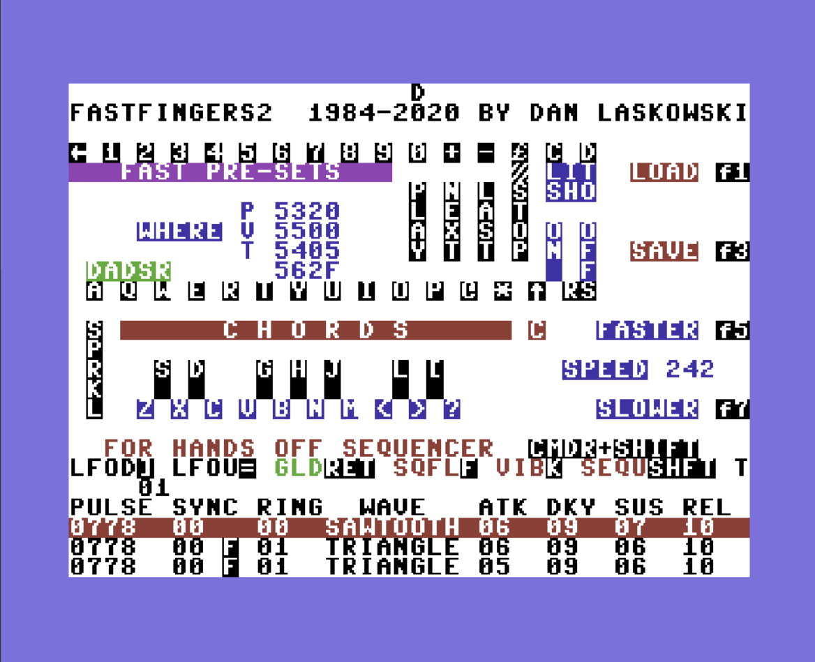 FASTFINGERS Home of the commodore 64 Lead Synthesizer