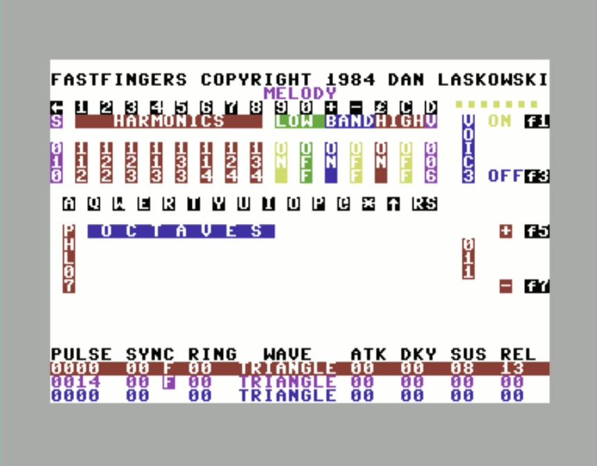 Fastfingers Octaves and Harmonics editing screen